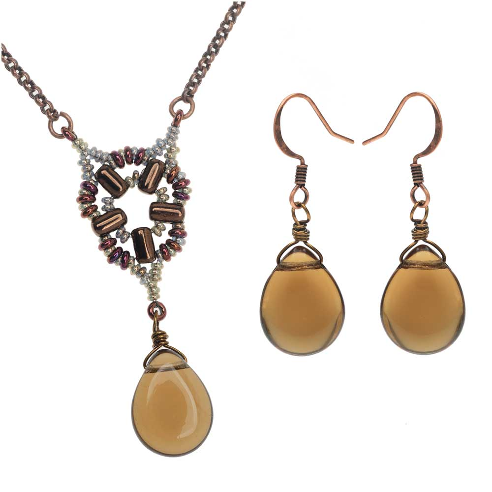 Retired - Byzantine Window Necklace and Earring Set in Smoky Topaz