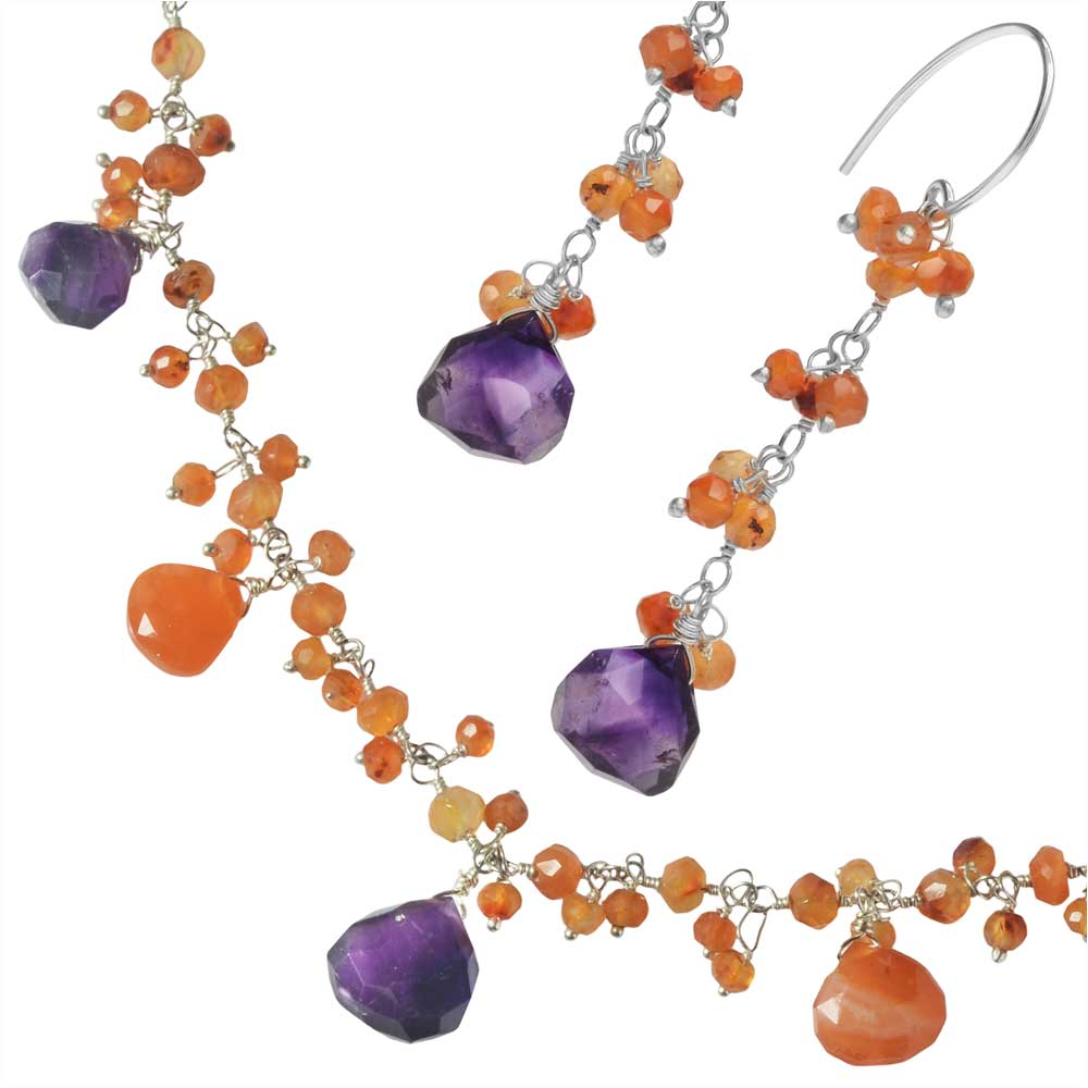 Luxe Gemstone Necklace and Earring Set