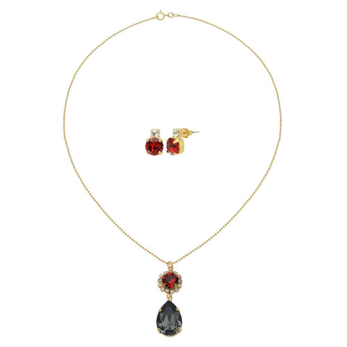 Hint of Crimson Necklace and Earring Set