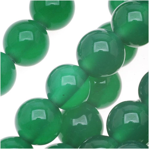Green Agate Round Gemstone Beads 6mm  (15 Inch Strand)