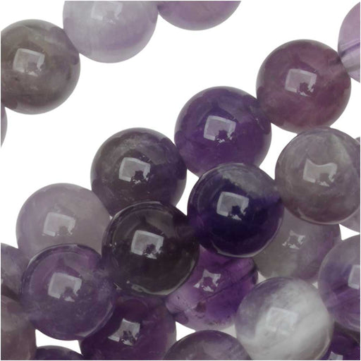 Dakota Stones Gemstone Beads, Dog Teeth Amethyst, Round 6mm, 8 Inch Strand
