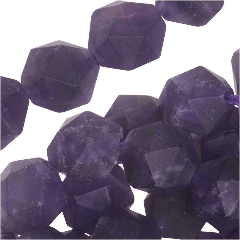 Dakota Stones Gemstone Beads, Purple Amethyst, Matte Star Cut Faceted Round 8mm, 15.5 Inch Strand