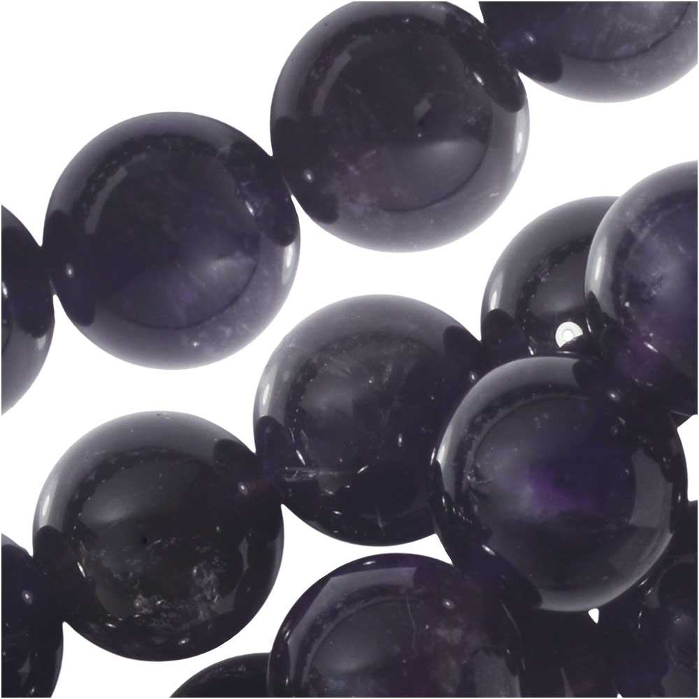 Dakota Stones Gemstone Beads, Purple Amethyst, Round 10mm, 8 Inch Strand