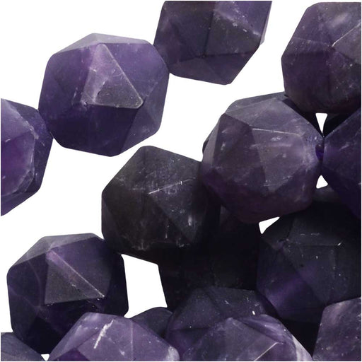 Dakota Stones Gemstone Beads, Purple Amethyst, Matte Star Cut Faceted Round 10mm, 15 Inch Strand