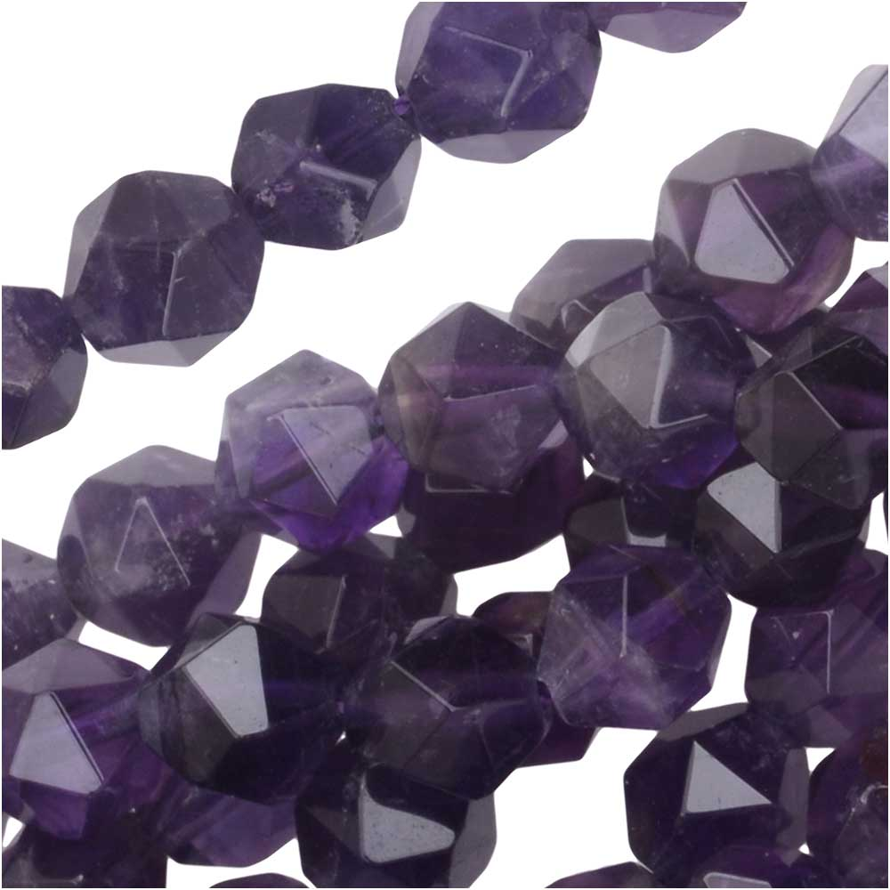 Dakota Stones Gemstone Beads, Purple Amethyst, Star Cut Faceted Round 6mm, 15 Inch Strand