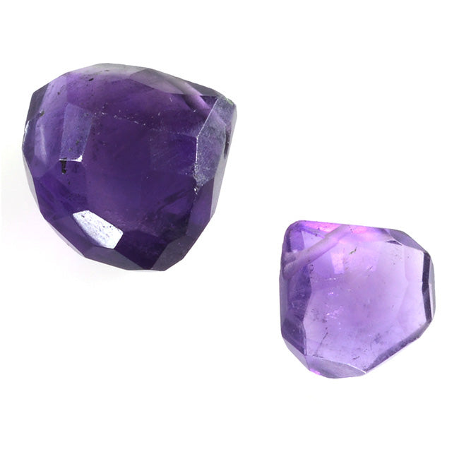 Purple Amethyst Gemstone Quality Cut Faceted Heart Briolette Beads 8-12mm Pack of 6