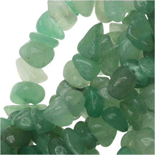 Green Aventurine Gemstone Beads, Smooth Chip 6-12mm, 32 Inch Strand