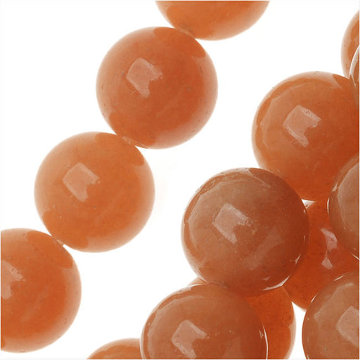 Gemstone Beads, Orange Aventurine, Round 8mm, 15 Inch Strand