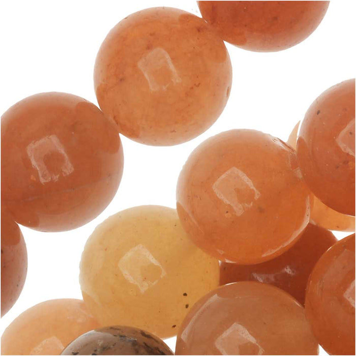 Red Orange Aventurine 8mm Round Beads / 15.5 Inch Strand
