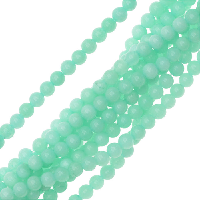 Pale Aqua Amazonite 4mm Round Beads /14.5 In Strnd