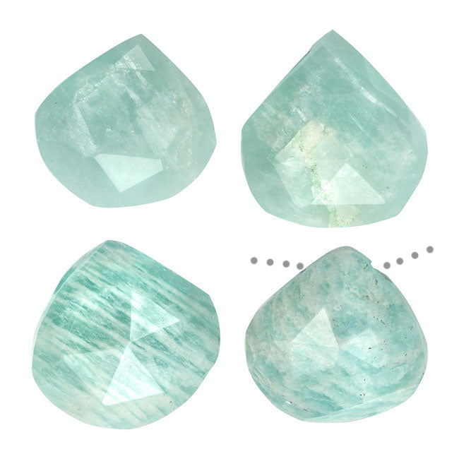 Chatoyant Amazonite Gemstone Beads, Faceted Heart Briolette 10-18mm, 4 Pieces, Aqua Green