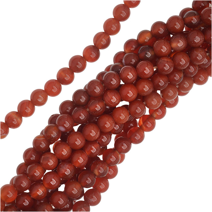 Red Carnelian Multi-Colored Gemstone 4mm Round Beads /14.75 Inch Strand