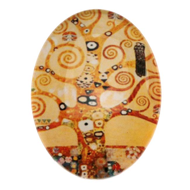 Tempered Glass Oval Cabochon Whimsical Tree Orange Tones 30x40mm (1)
