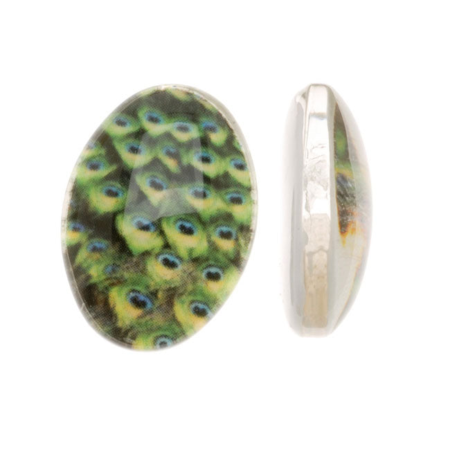 Tempered Glass Oval Cabochons Green Peacock Feathers 13x18mm (4)