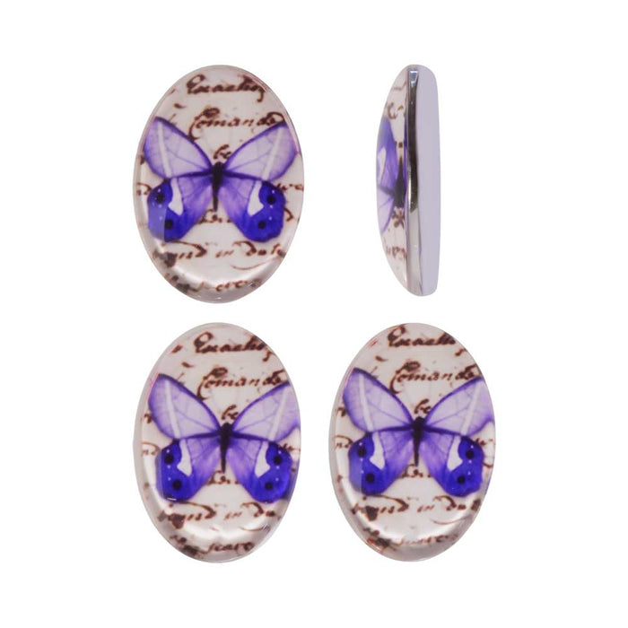 Tempered Glass Oval Cabochons Purple Butterfly 13x18mm (4)