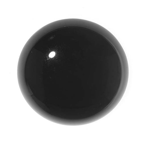 Black Onyx Gemstone Round Flat-Back Cabochon 25mm (1 Piece)