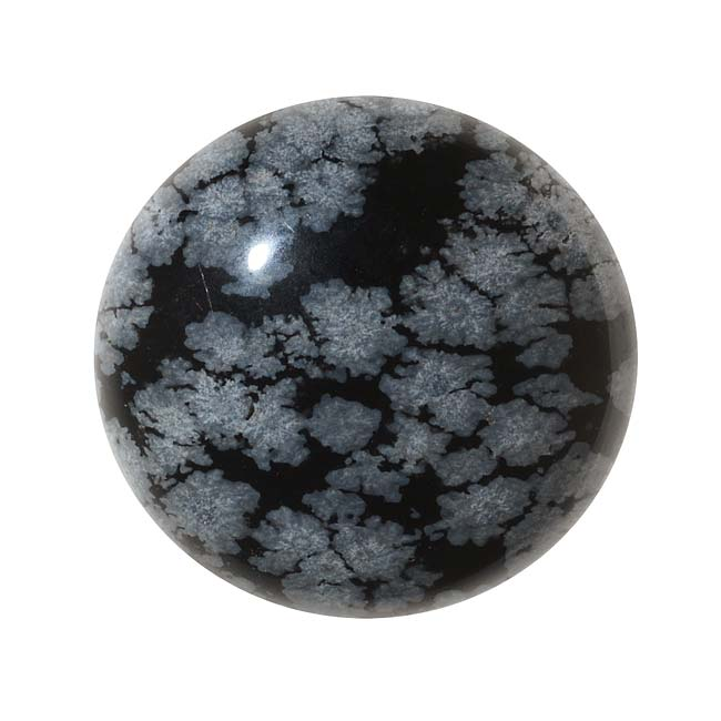 Snowflake Obsidian Gemstone Round Flat-Back Cabochons 25mm (1 Piece)
