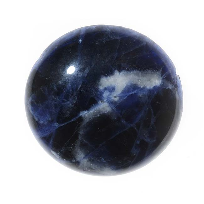 Blue Sodalite Gemstone Round Flat-Back Cabochon 25mm (1 Piece)
