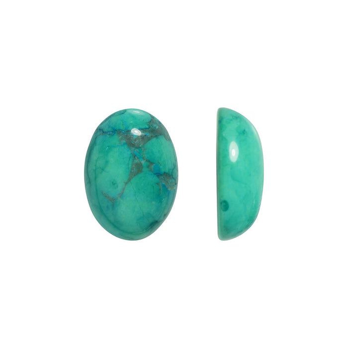 Chinese Turquoise Dyed Howlite Gemstone Oval Flat-Back Cabochons 14x10mm (4)