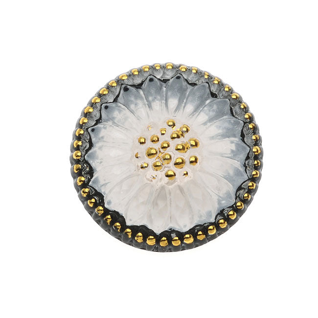 Czech Glass Flat Back Button Cabochon, Sunburst Flower 18.5mm Round, 1 Piece, Black White and Gold