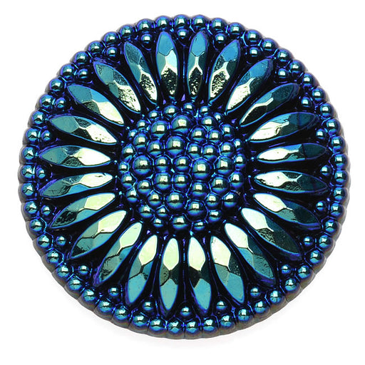 Czech Glass Flat Back Button Cabochons, Flower Burst 27.5mm Round, 1 Piece, Iridescent Blue