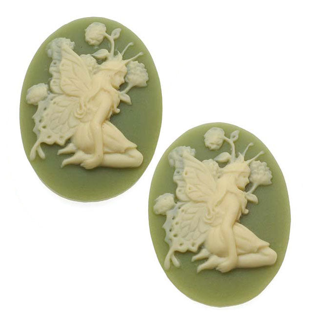 Lucite Oval Cameo - Olive Green With Ivory Fairy And Flowers 25x18mm (2 Pieces)