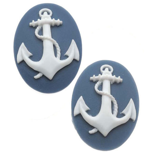 Lucite Oval Cameo - Navy Blue With White Anchor 25x18mm (2 Pieces)