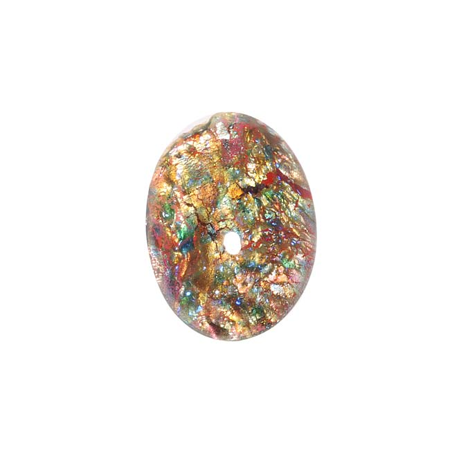 Rainbow Foiled Faux Red Opal Glass Cabochon 18x13mm Oval (1)