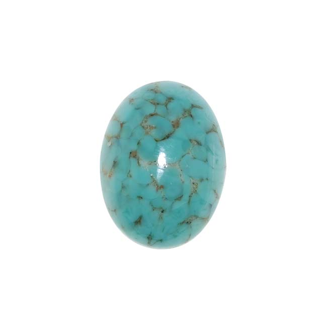 Faux Blue Turquoise W/ Matrix Glass Cabochon 18x13mm Oval (1)