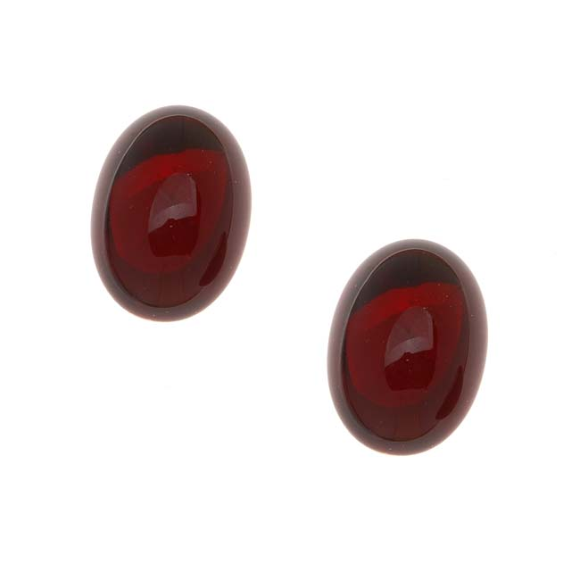 Glass Cabochons - 18x13mm Ovals - Garnet Red Foiled (2 Pieces)