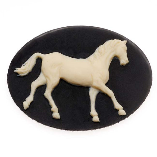 Vintage Style Lucite Oval Cameo Black With Ivory Horse 40 x 30mm (1)