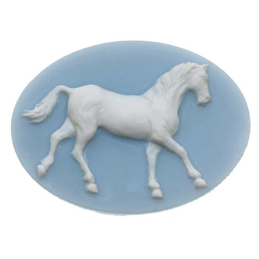 Vintage Style Lucite Oval Cameo Blue With White Horse 40 x 30mm (1)