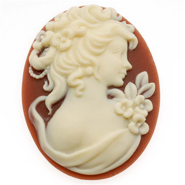Vintage Style Oval Cameo - Dark Cornelian With Ivory Grecian Woman 40x30mm (1)