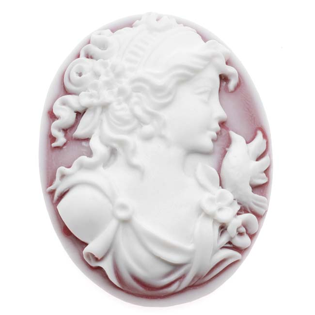 Vintage Style Oval Cameo - Frosted Ruby With White Grecian Woman 40x30mm (1)