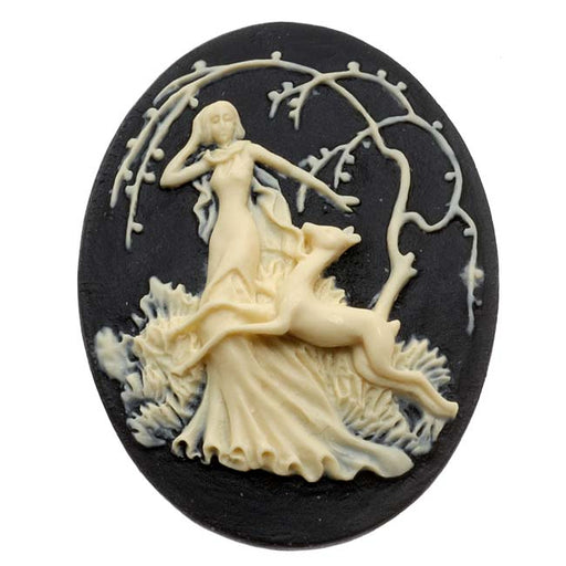 Lucite Oval Cameo - Black With Ivory Art Deco Lady Of The Forest 40x30mm (1)