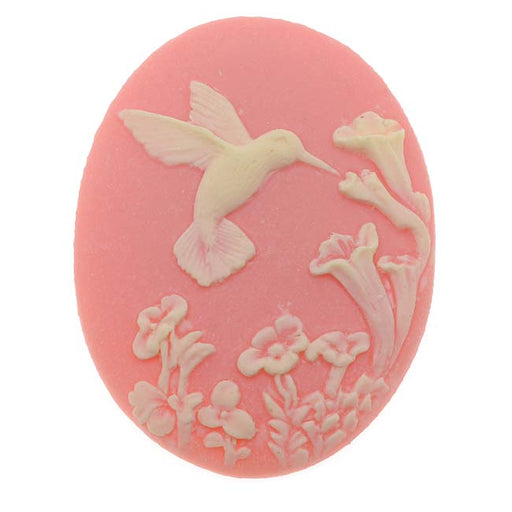 Vintage Style Lucite Oval Cameo Pink With Ivory Hummingbird And Flowers 40x30mm