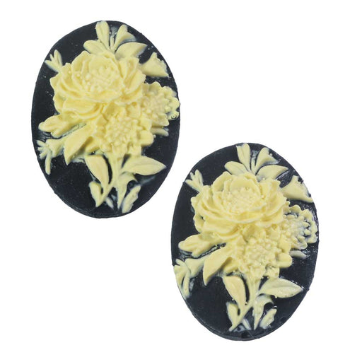Vintage Style Lucite Oval Cameo Black With Ivory Rose Flowers 25x18mm (2)