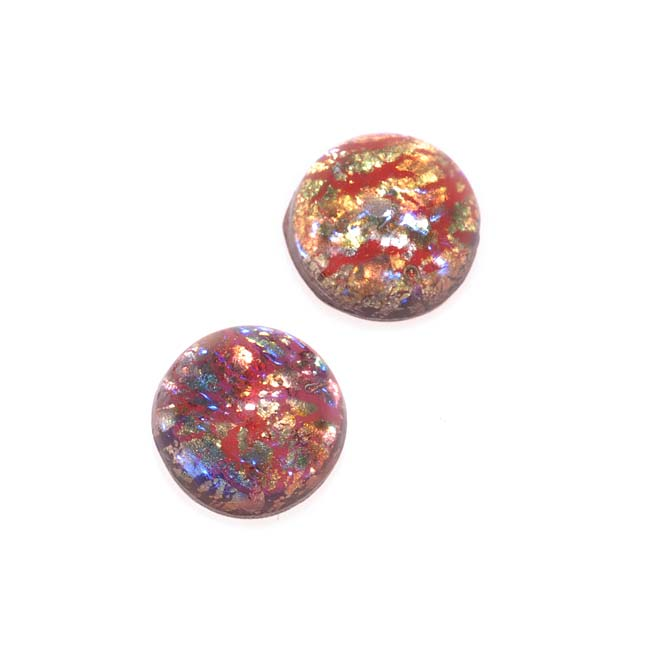 Faux Red Opal Foil Glass Cabochon Round 7mm (2)