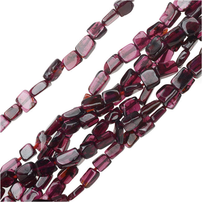 Garnet Natural Gemstone Beads, Rectangles 4x5mm, 13.5 Inch Stand, Red