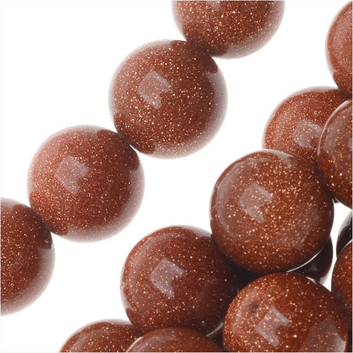 Goldstone Gemstone Beads, Round 8mm, 14.5 Inch Strand, Copper Gold