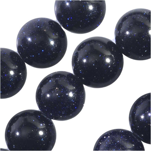 Dakota Stones Gemstone Beads, Blue Goldstone, Round 8mm, 7.75 Inch Strand
