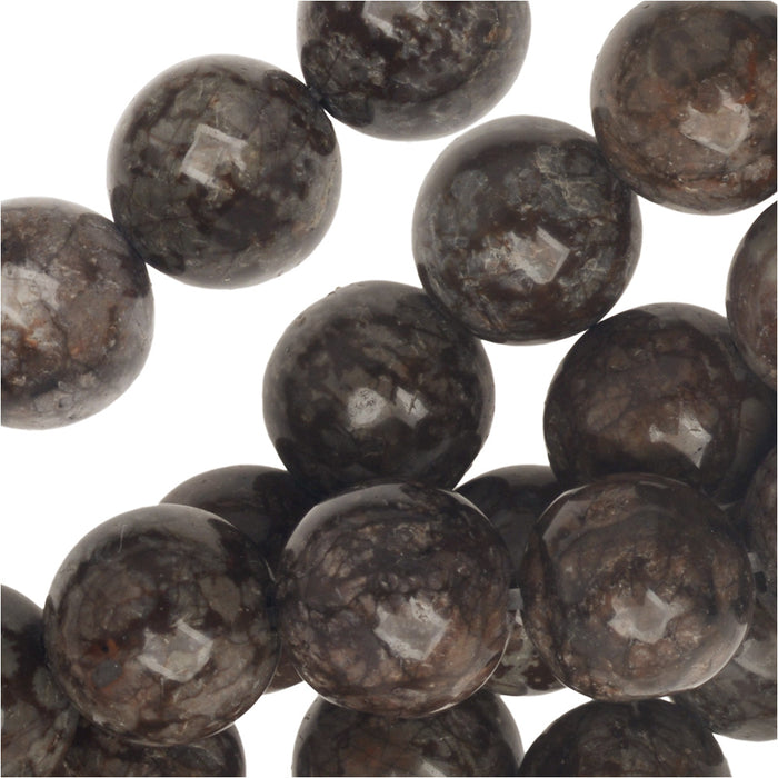 Gemstone Beads, Brown Snowflake Obsidian, Round 8mm, 15 Inch Strand