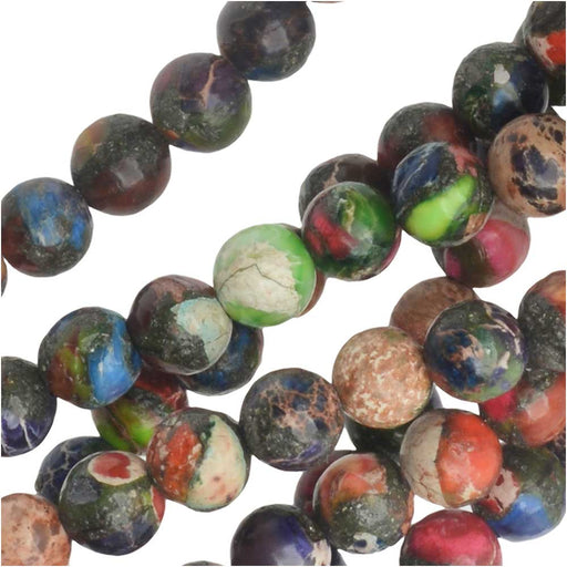 Dakota Stones Gemstone Beads, Mixed Impression Jasper, Round 4mm, 8 Inch Strand
