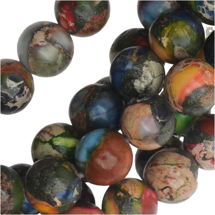 Dakota Stones Gemstone Beads, Mixed Impression Jasper, Round 6mm, 8 Inch Strand