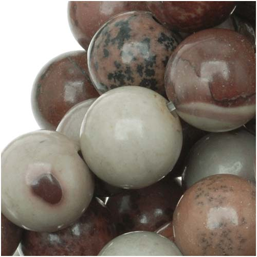 Gemstone Beads, Picture Jasper, Round 8.5mm, 15 Inch Strand, Grey And Red