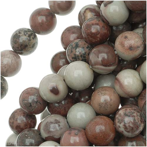 Gemstone Beads, Picture Jasper, Round 8mm, 15 Inch Strand, Grey And Red