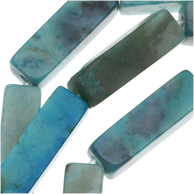 Turquoise Jasper Rectangle Tube Beads 4X13mm/ 16 Inch Strand
