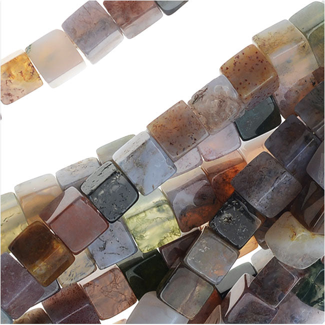 Jasper & Agate Gemstone Mix, Cube Beads 4mm, 15.5 Inch Strand, Purple Tone