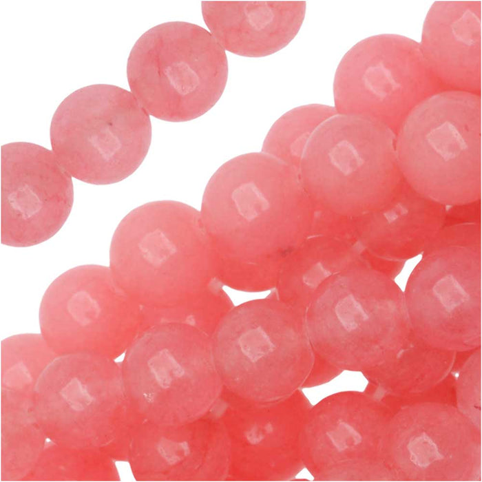 Gemstone Beads, Pink Candy Jade, Round 6mm, 15.5 Inch Strand