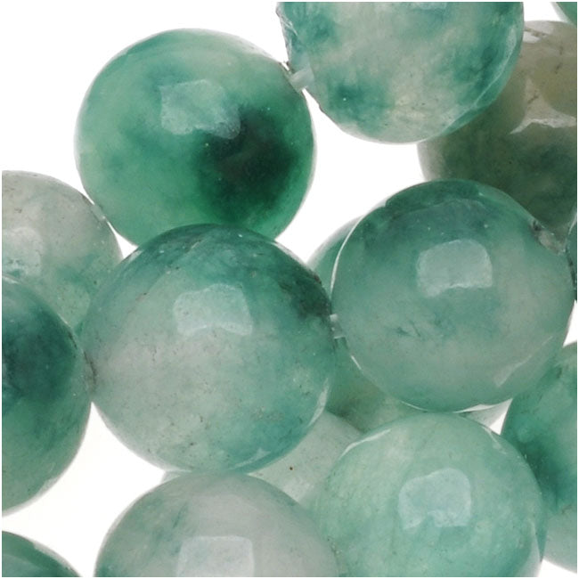 Gemstone Beads, Green And White Jade, Round 8mm, 15 Inch Strand